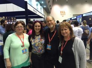 Supanova Perth 2015; from left, Karen Miller, me, Kevin J. Anderson and Rebecca Moesta